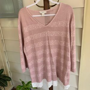 CJ Banks - Light Pink Sweater with Stripes